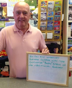 68 - SIGN AT ABERGAVENNY BOOKSHOP WALES